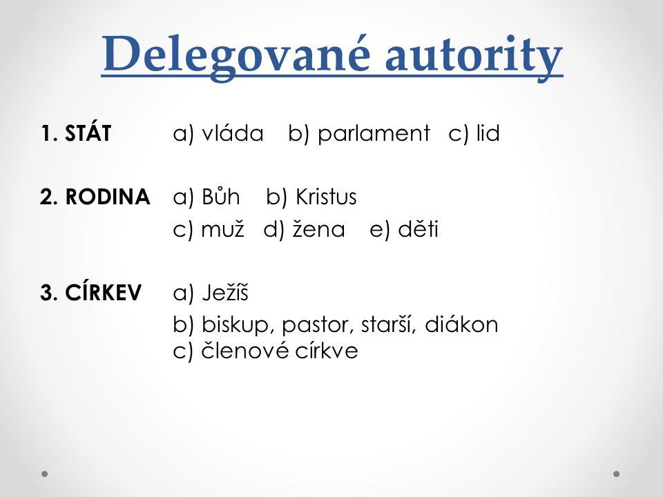 Delegované autority 1. STÁT a) vláda b) parlament c) lid 2.