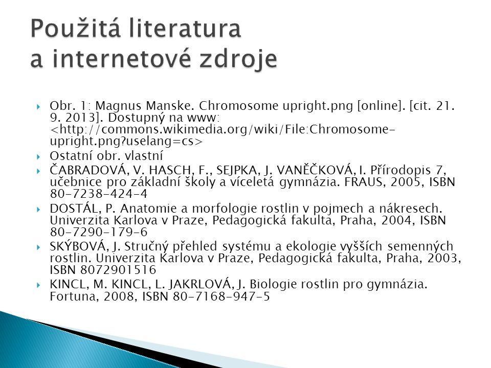  Obr. 1: Magnus Manske. Chromosome upright.png [online]. [cit. 21. 9. 2013]. Dostupný na www:  Ostatní obr. vlastní  ČABRADOVÁ, V. HASCH, F., SEJPK