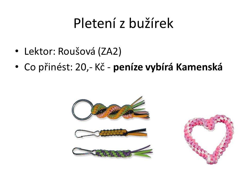 Pletení z bužírek • Lektor: Roušová (ZA2) • Co přinést: 20,- Kč - peníze vybírá Kamenská
