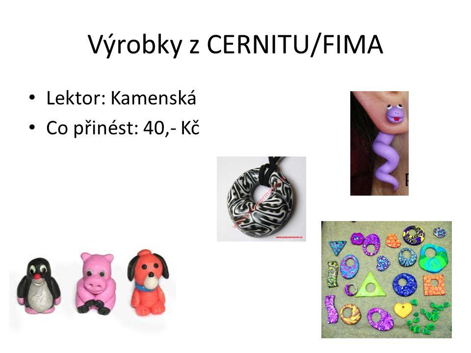 Výrobky z CERNITU/FIMA • Lektor: Kamenská • Co přinést: 40,- Kč