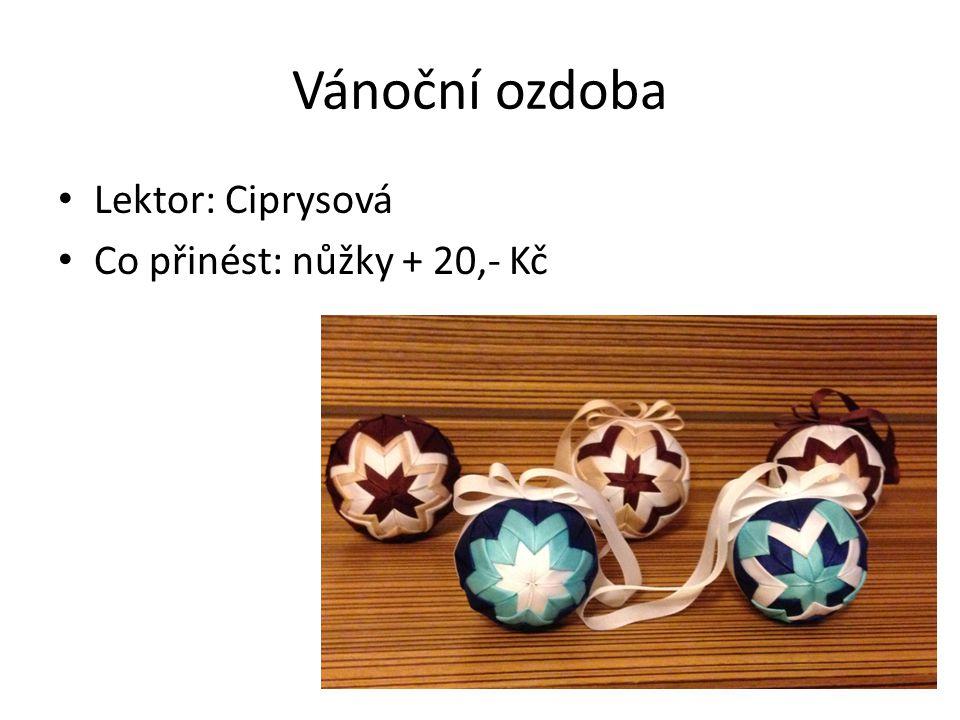 Vánoční ozdoba • Lektor: Ciprysová • Co přinést: nůžky + 20,- Kč