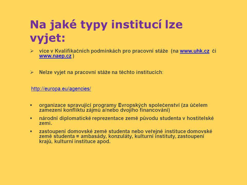 Na jaké typy institucí lze vyjet:  více v Kvalifikačních podmínkách pro pracovní stáže (na www.uhk.cz či www.naep.cz )www.uhk.cz www.naep.cz  Nelze vyjet na pracovní stáže na těchto institucích: http://europa.eu/agencies/  organizace spravující programy Evropských společenství (za účelem zamezení konfliktu zájmů a/nebo dvojího financování)  národní diplomatické reprezentace země původu studenta v hostitelské zemi.