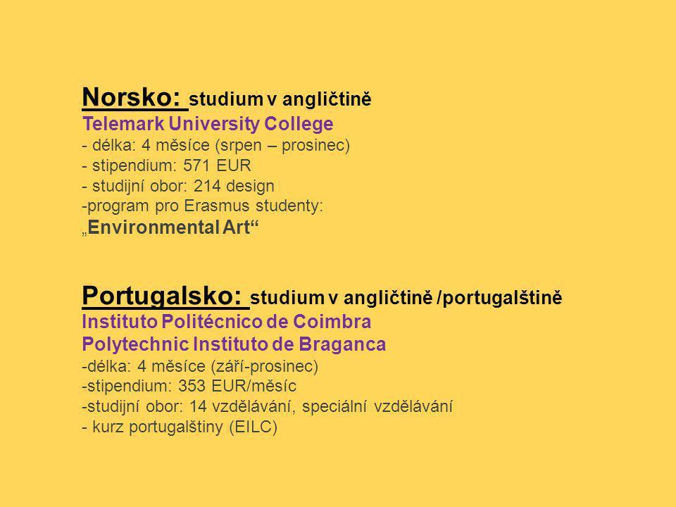 Norsko: studium v angličtině Telemark University College - délka: 4 měsíce (srpen – prosinec) - stipendium: 571 EUR - studijní obor: 214 design -progr
