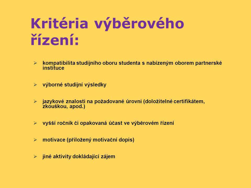 Kritéria výběrového řízení:  kompatibilita studijního oboru studenta s nabízeným oborem partnerské instituce  výborné studijní výsledky  jazykové z