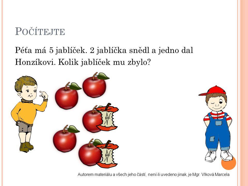 P OČÍTEJTE Péťa má 5 jablíček. 2 jablíčka snědl a jedno dal Honzíkovi. Kolik jablíček mu zbylo? Autorem materiálu a všech jeho částí, není-li uvedeno