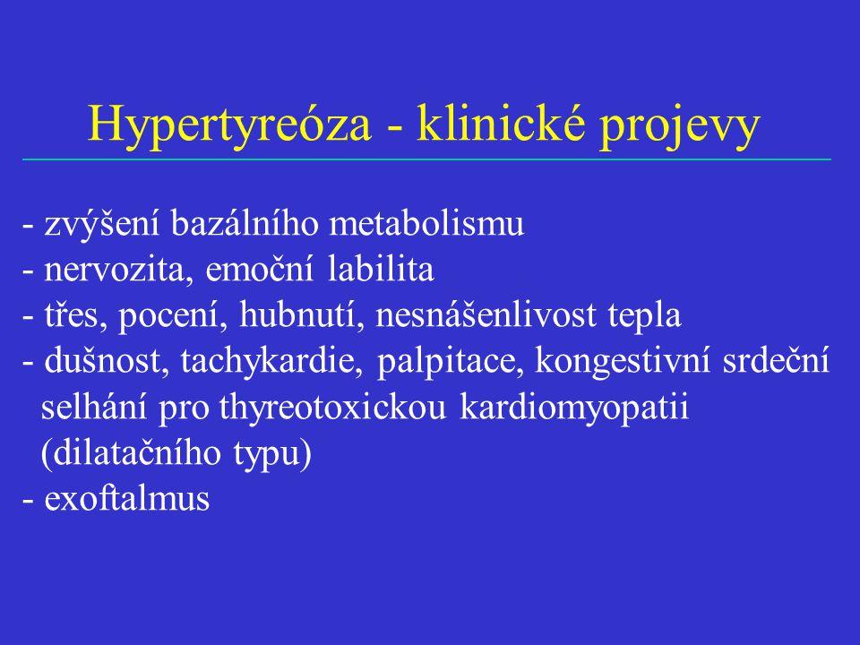 Hypertyreóza - klinické projevy - zvýšení bazálního metabolismu - nervozita, emoční labilita - třes, pocení, hubnutí, nesnášenlivost tepla - dušnost, tachykardie, palpitace, kongestivní srdeční selhání pro thyreotoxickou kardiomyopatii (dilatačního typu) - exoftalmus
