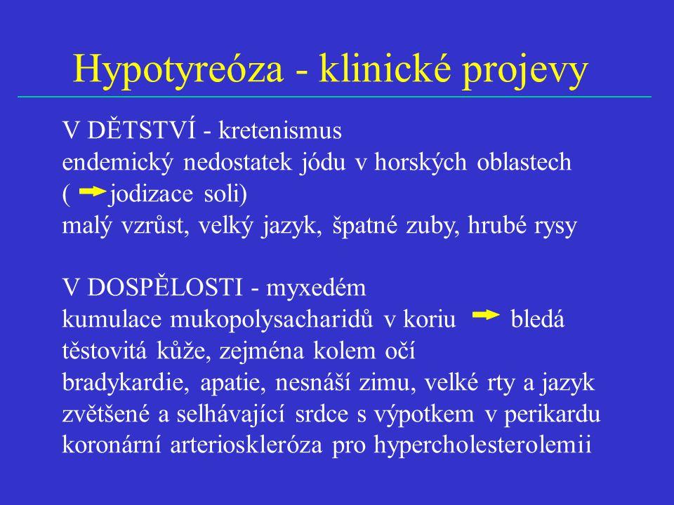 Hypotyreóza - klinické projevy V DĚTSTVÍ - kretenismus endemický nedostatek jódu v horských oblastech ( jodizace soli) malý vzrůst, velký jazyk, špatné zuby, hrubé rysy V DOSPĚLOSTI - myxedém kumulace mukopolysacharidů v koriu bledá těstovitá kůže, zejména kolem očí bradykardie, apatie, nesnáší zimu, velké rty a jazyk zvětšené a selhávající srdce s výpotkem v perikardu koronární arterioskleróza pro hypercholesterolemii