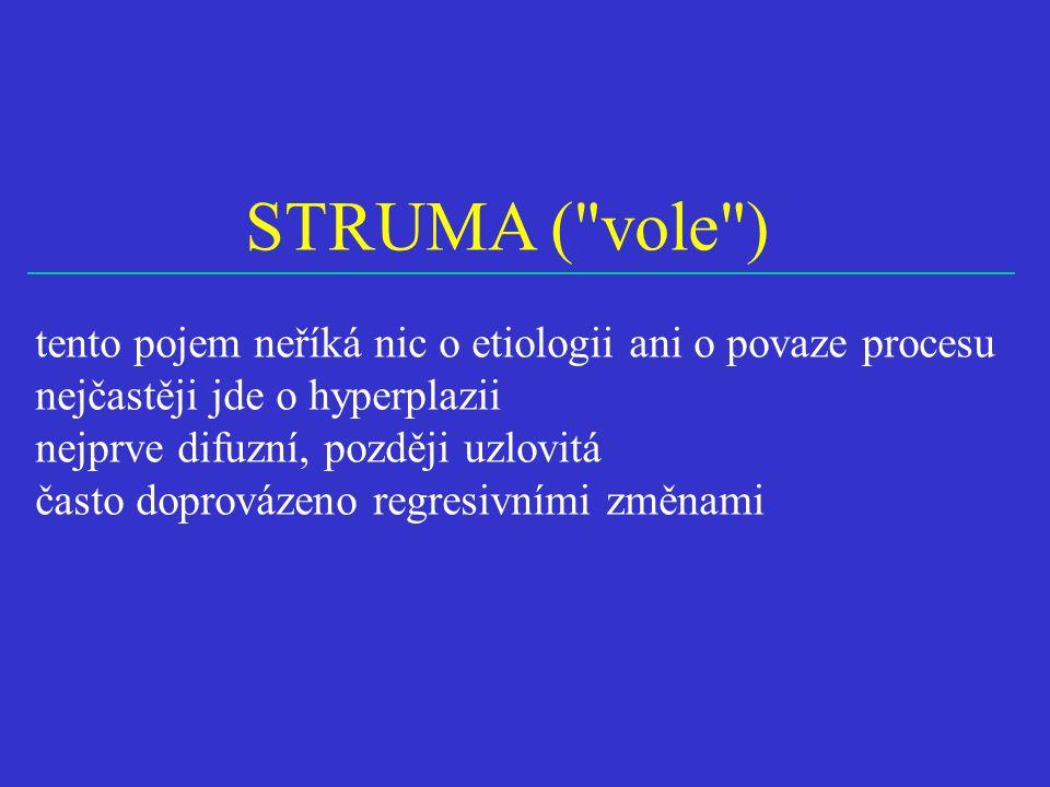 STRUMA ( vole ) tento pojem neříká nic o etiologii ani o povaze procesu nejčastěji jde o hyperplazii nejprve difuzní, později uzlovitá často doprovázeno regresivními změnami