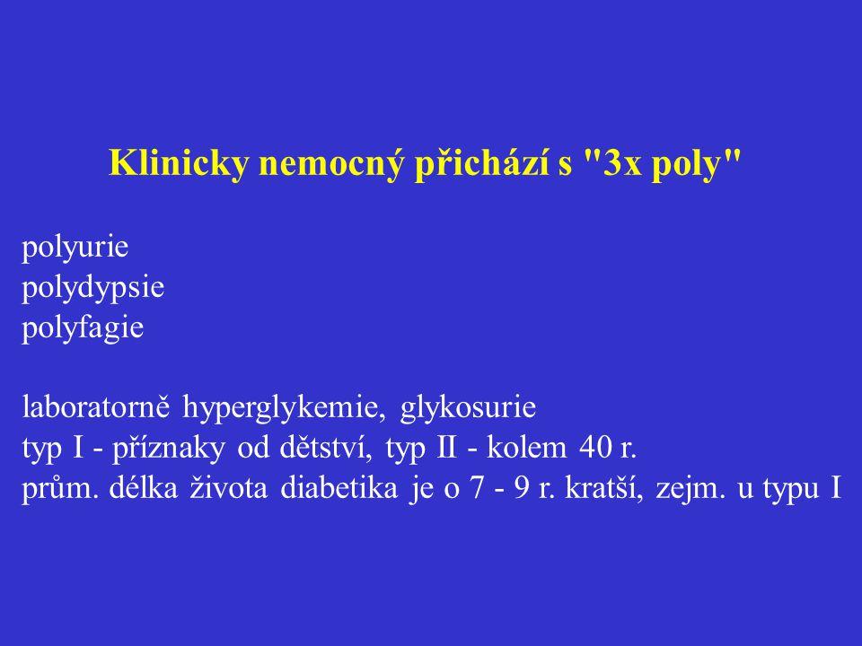 Klinicky nemocný přichází s 3x poly polyurie polydypsie polyfagie laboratorně hyperglykemie, glykosurie typ I - příznaky od dětství, typ II - kolem 40 r.