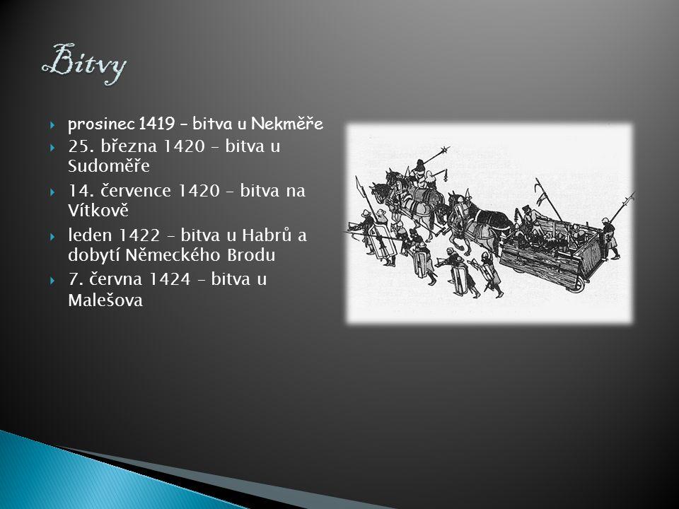  prosinec 1419 – bitva u Nekměře  25. března 1420 – bitva u Sudoměře  14. července 1420 – bitva na Vítkově  leden 1422 – bitva u Habrů a dobytí Ně