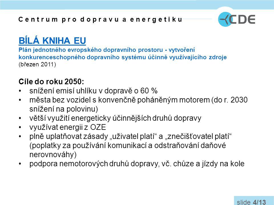C e n t r u m p r o d o p r a v u a e n e r g e t i k u slide 5/13 Dopravní politika ČR (2005-2013, aktualizace 2011) •Dosažení vhodné dělby přepravní práce mezi jednotlivými druhy dopravy •zajištěním rovných podmínek na přepravním trhu •hospodárně využívat energetické zdroje v dopravě Dopravní politika pro léta 2014 – 2020 (s výhledem do roku 2050) bude předložena do konce roku 2012.