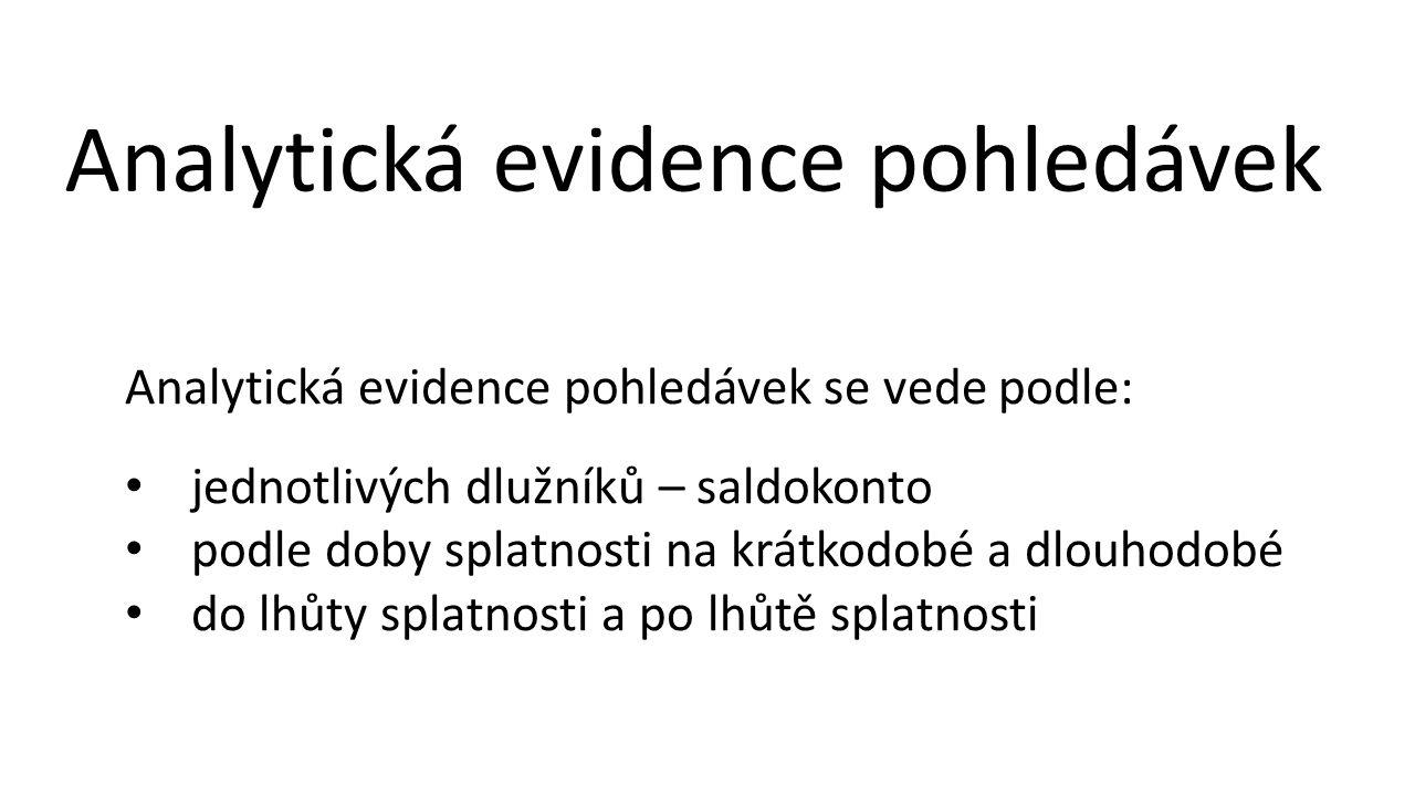 Analytická evidence pohledávek Analytická evidence pohledávek se vede podle: • jednotlivých dlužníků – saldokonto • podle doby splatnosti na krátkodob