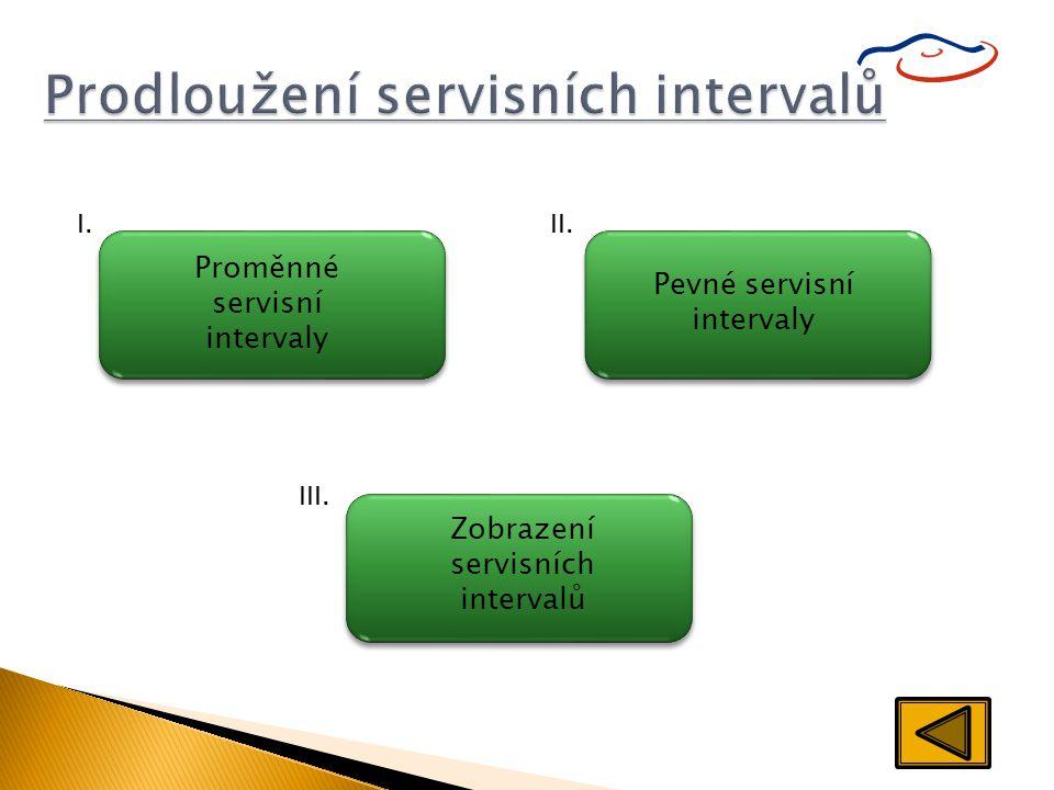 Prodloužení servisních intervalů Proměnné servisní intervaly I. Pevné servisní intervaly II. Zobrazení servisních intervalů III.