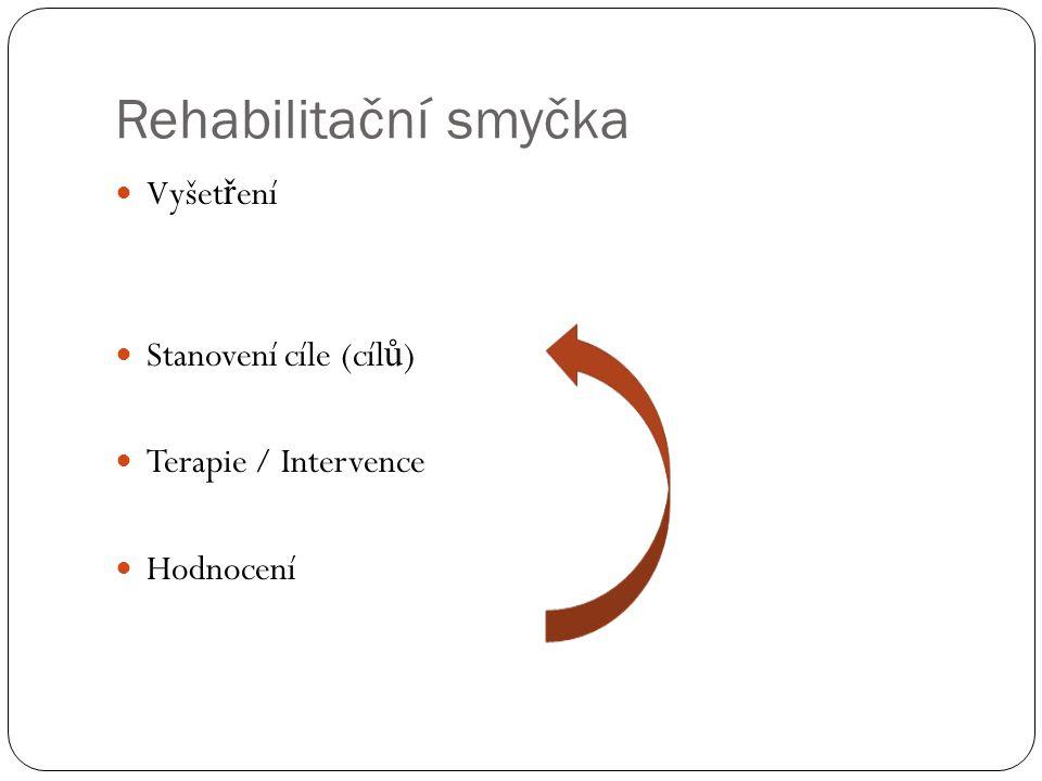 Rehabilitační smyčka  Vyšet ř ení  Stanovení cíle (cíl ů )  Terapie / Intervence  Hodnocení