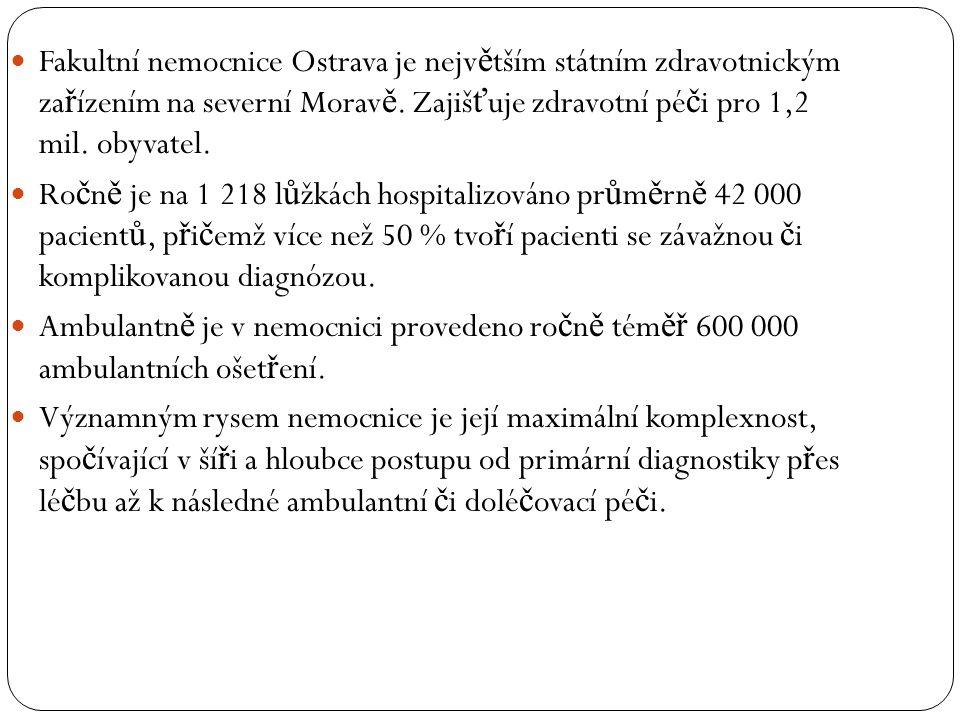  Fakultní nemocnice Ostrava je nejv ě tším státním zdravotnickým za ř ízením na severní Morav ě. Zajiš ť uje zdravotní pé č i pro 1,2 mil. obyvatel.