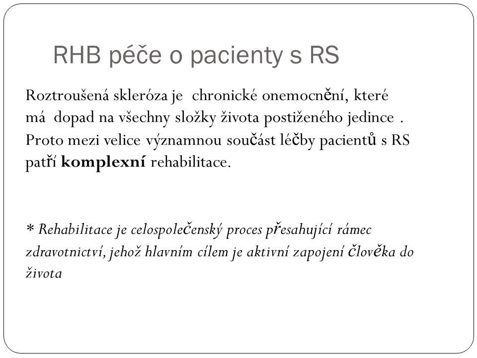 RHB péče o pacienty s RS Roztroušená skleróza je chronické onemocn ě ní, které má dopad na všechny složky života postiženého jedince. Proto mezi velic