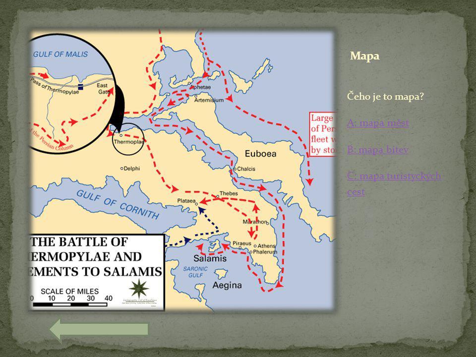 Čeho je to mapa? A: mapa měst B: mapa bitev C: mapa turistyckých cest