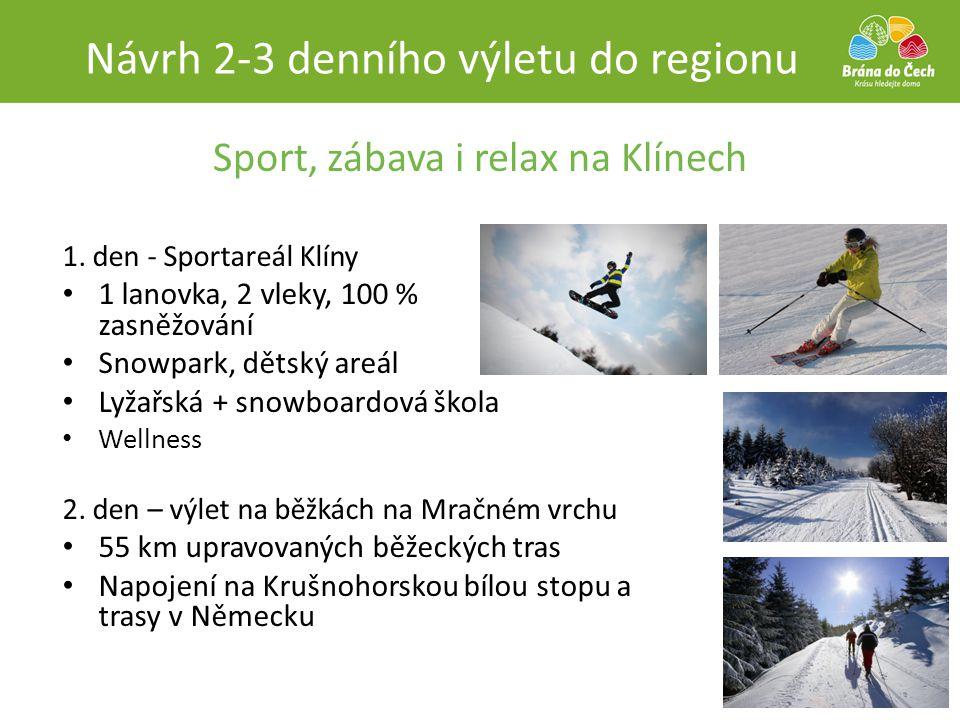 Sport, zábava i relax na Klínech 1. den - Sportareál Klíny • 1 lanovka, 2 vleky, 100 % zasněžování • Snowpark, dětský areál • Lyžařská + snowboardová