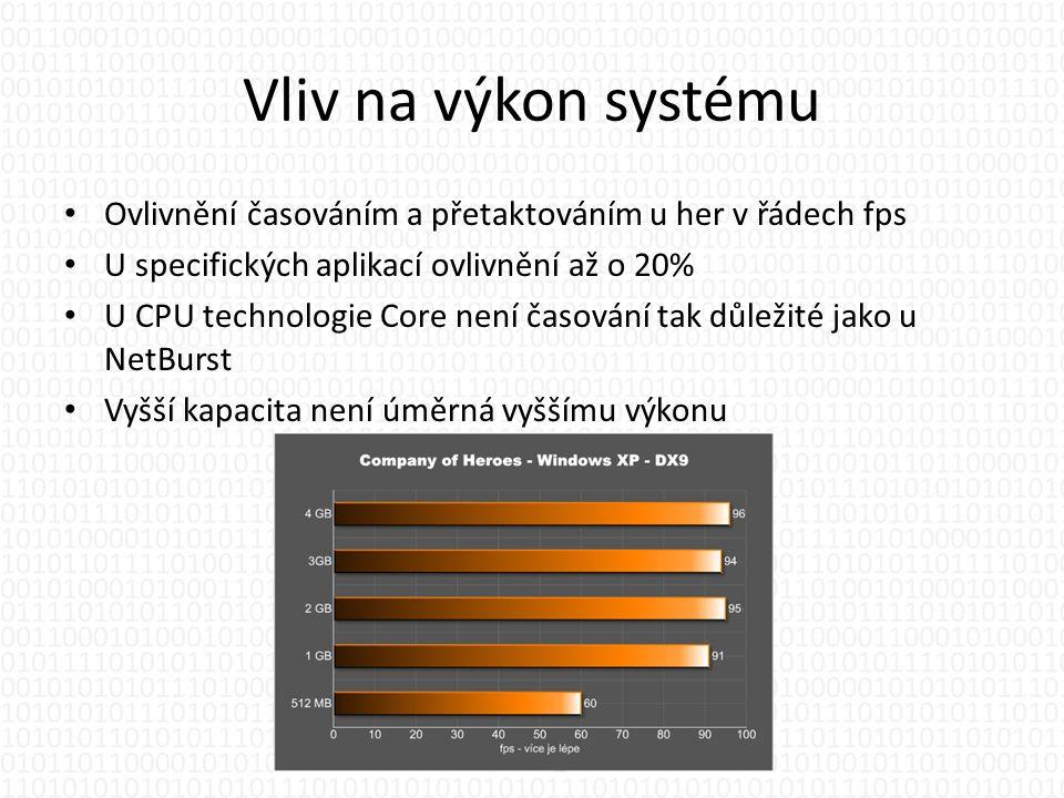 Vliv na výkon systému • Ovlivnění časováním a přetaktováním u her v řádech fps • U specifických aplikací ovlivnění až o 20% • U CPU technologie Core není časování tak důležité jako u NetBurst • Vyšší kapacita není úměrná vyššímu výkonu