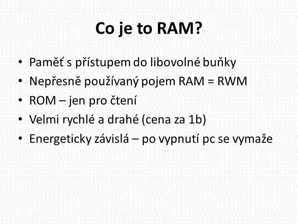 Historie • Pásková magnetická paměť – r.1951 • Dynamická RAM - Robert Dennard r.1967 • Prvovýroba čip Intel 1103, kapacita 1kbit, cena 200$ • 1972 – nasazena do počítače HP 9800, vyrobeno již přes 100 000ks • Postup výroby dodnes stále stejný