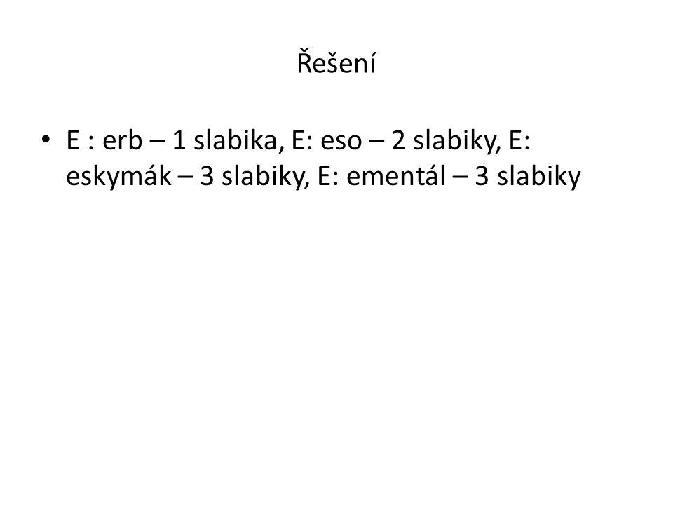 Řešení • E : erb – 1 slabika, E: eso – 2 slabiky, E: eskymák – 3 slabiky, E: ementál – 3 slabiky