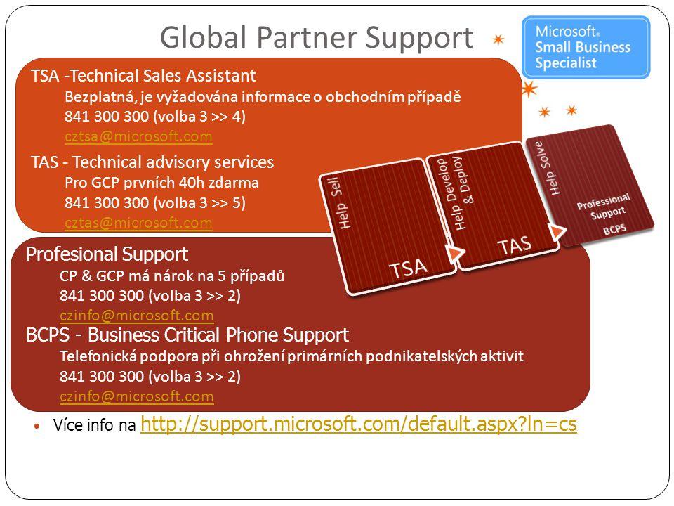 TSA -Technical Sales Assistant Bezplatná, je vyžadována informace o obchodním případě 841 300 300 (volba 3 >> 4) cztsa@microsoft.com TAS - Technical advisory services Pro GCP prvních 40h zdarma 841 300 300 (volba 3 >> 5) cztas@microsoft.com Profesional Support CP & GCP má nárok na 5 případů 841 300 300 (volba 3 >> 2) czinfo@microsoft.com BCPS - Business Critical Phone Support Telefonická podpora při ohrožení primárních podnikatelských aktivit 841 300 300 (volba 3 >> 2) czinfo@microsoft.com Global Partner Support  Více info na http://support.microsoft.com/default.aspx?ln=cs http://support.microsoft.com/default.aspx?ln=cs