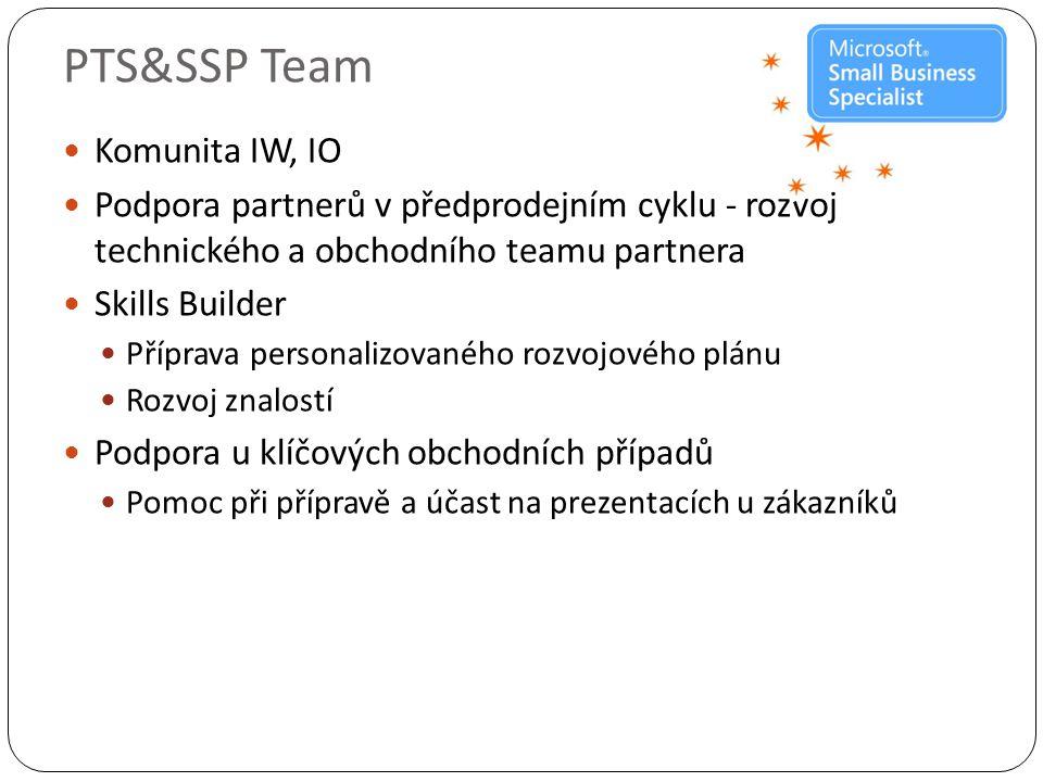 PTS&SSP Team  Komunita IW, IO  Podpora partnerů v předprodejním cyklu - rozvoj technického a obchodního teamu partnera  Skills Builder  Příprava personalizovaného rozvojového plánu  Rozvoj znalostí  Podpora u klíčových obchodních případů  Pomoc při přípravě a účast na prezentacích u zákazníků