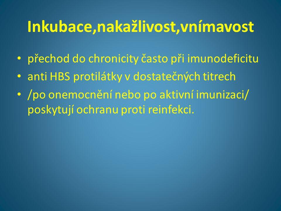 Inkubace,nakažlivost,vnímavost • přechod do chronicity často při imunodeficitu • anti HBS protilátky v dostatečných titrech • /po onemocnění nebo po a