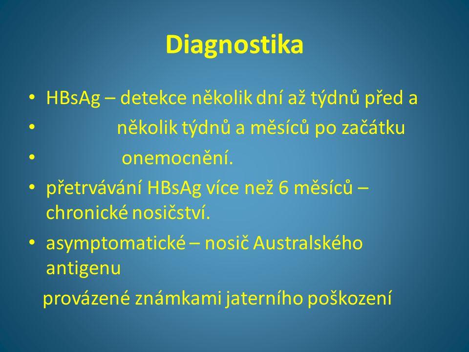 Diagnostika • HBsAg – detekce několik dní až týdnů před a • několik týdnů a měsíců po začátku • onemocnění. • přetrvávání HBsAg více než 6 měsíců – ch