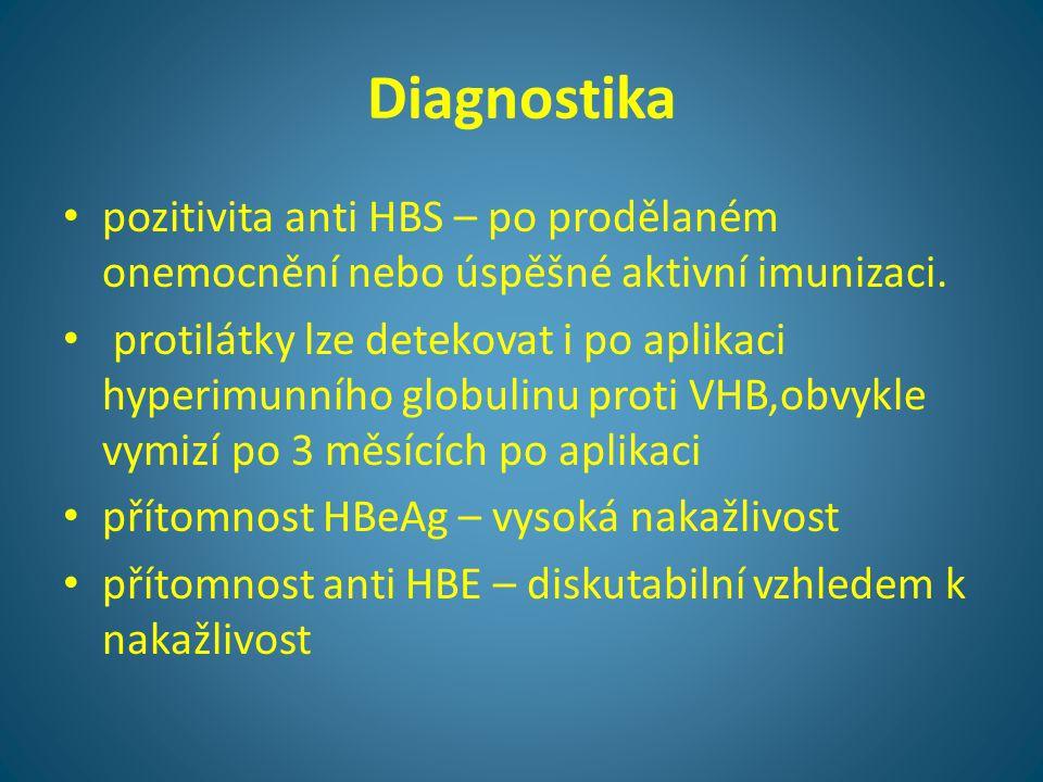 Diagnostika • pozitivita anti HBS – po prodělaném onemocnění nebo úspěšné aktivní imunizaci. • protilátky lze detekovat i po aplikaci hyperimunního gl
