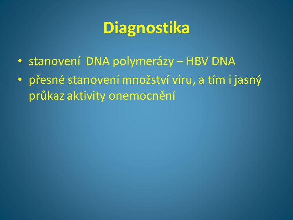 Diagnostika • stanovení DNA polymerázy – HBV DNA • přesné stanovení množství viru, a tím i jasný průkaz aktivity onemocnění