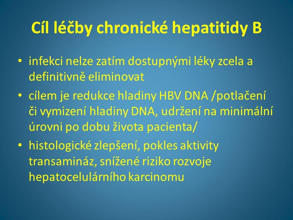 Cíl léčby chronické hepatitidy B • infekci nelze zatím dostupnými léky zcela a definitivně eliminovat • cílem je redukce hladiny HBV DNA /potlačení či