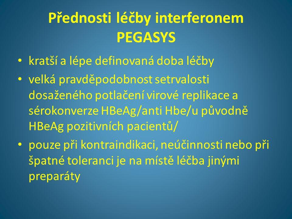 Přednosti léčby interferonem PEGASYS • kratší a lépe definovaná doba léčby • velká pravděpodobnost setrvalosti dosaženého potlačení virové replikace a