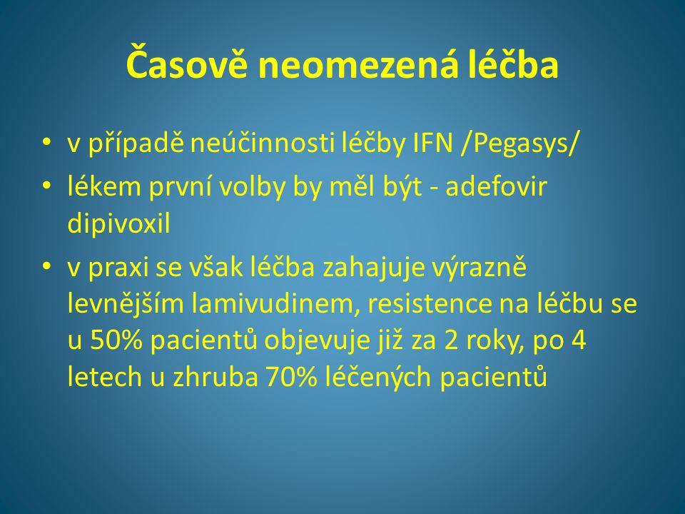 Časově neomezená léčba • v případě neúčinnosti léčby IFN /Pegasys/ • lékem první volby by měl být - adefovir dipivoxil • v praxi se však léčba zahajuj