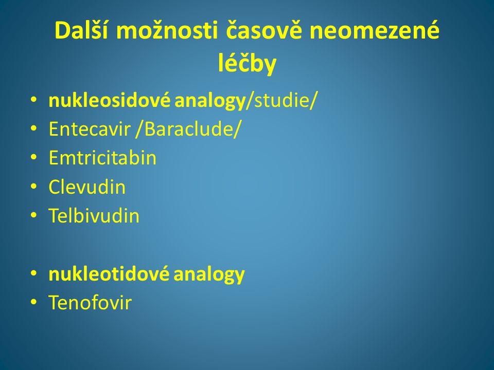Další možnosti časově neomezené léčby • nukleosidové analogy/studie/ • Entecavir /Baraclude/ • Emtricitabin • Clevudin • Telbivudin • nukleotidové ana