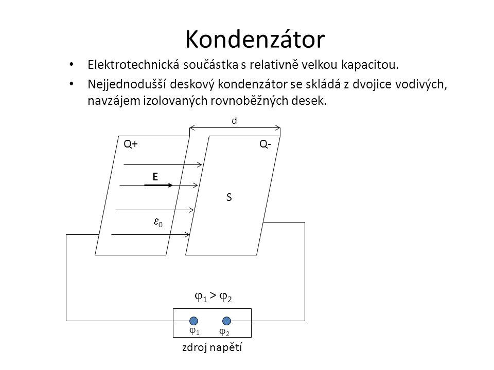 Kondenzátor • Elektrotechnická součástka s relativně velkou kapacitou. • Nejjednodušší deskový kondenzátor se skládá z dvojice vodivých, navzájem izol