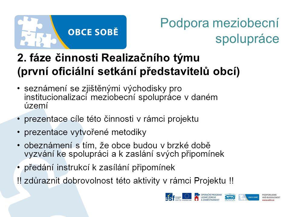 2. fáze činnosti Realizačního týmu (první oficiální setkání představitelů obcí) •seznámení se zjištěnými východisky pro institucionalizaci meziobecní