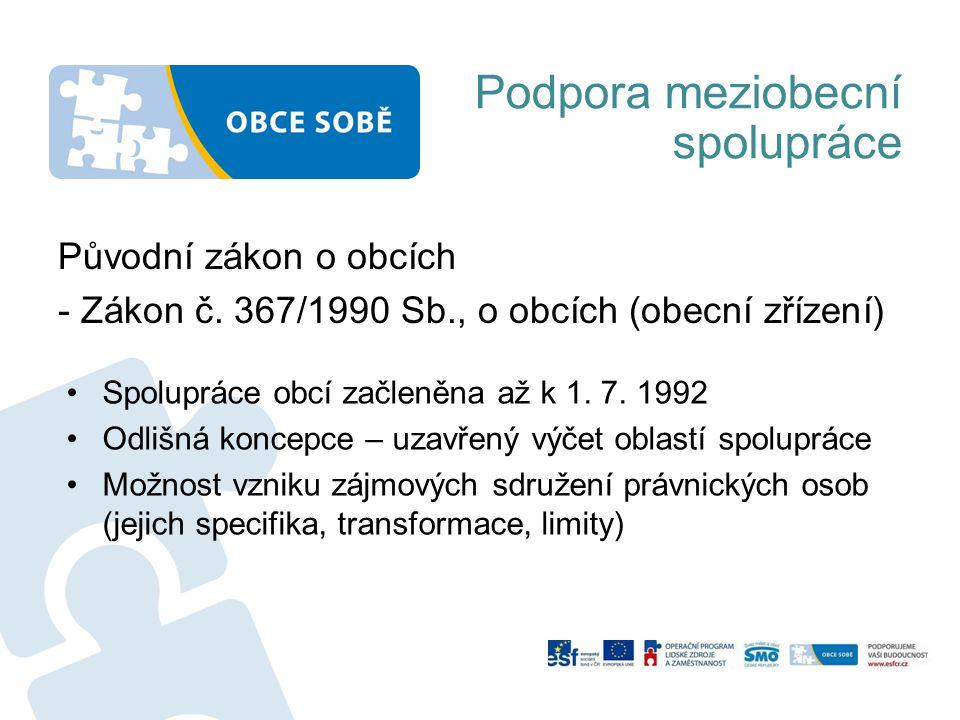Podpora meziobecní spolupráce Původní zákon o obcích - Zákon č.