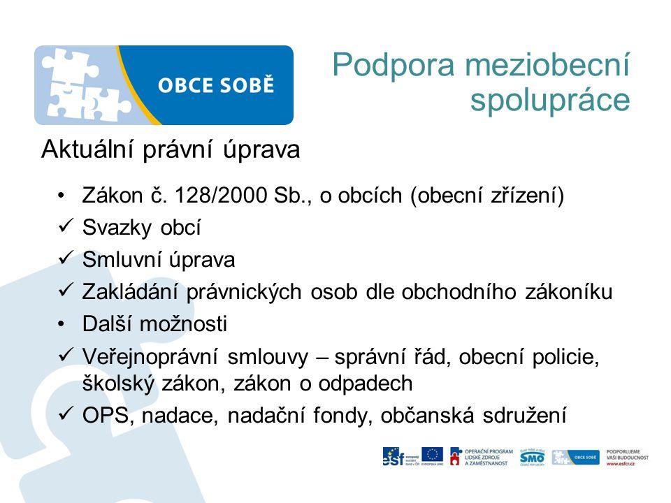 Podpora meziobecní spolupráce Aktuální právní úprava •Zákon č.