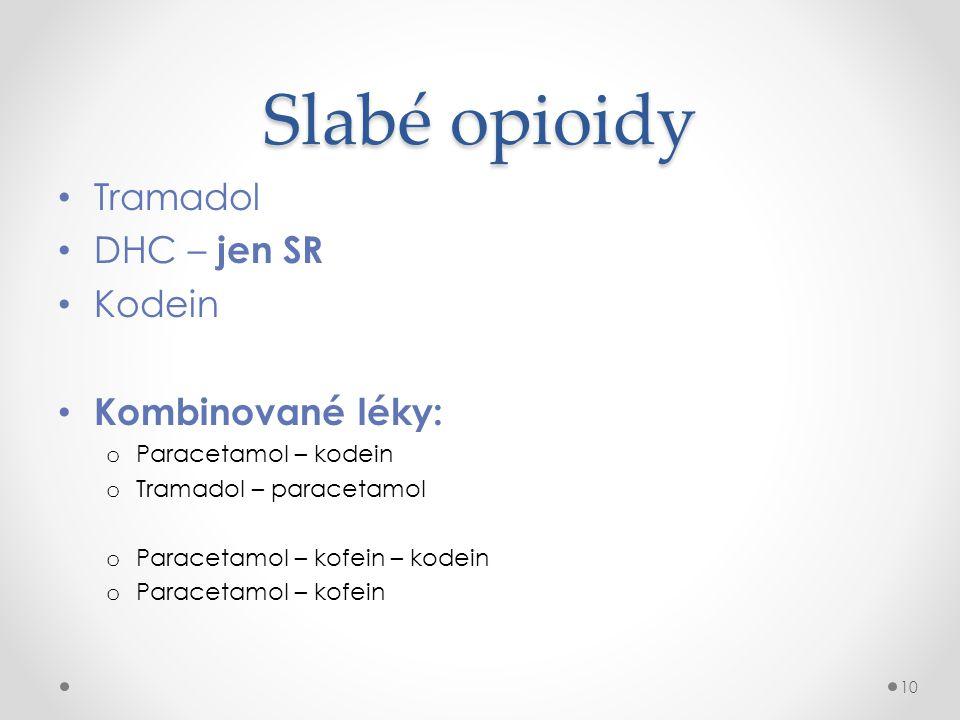 Slabé opioidy • Tramadol • DHC – jen SR • Kodein • Kombinované léky: o Paracetamol – kodein o Tramadol – paracetamol o Paracetamol – kofein – kodein o