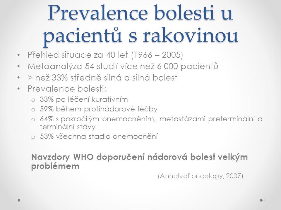 Prevalence bolesti u pacientů s rakovinou • Přehled situace za 40 let (1966 – 2005) • Metaanalýza 54 studií více než 6 000 pacientů • > než 33% středn