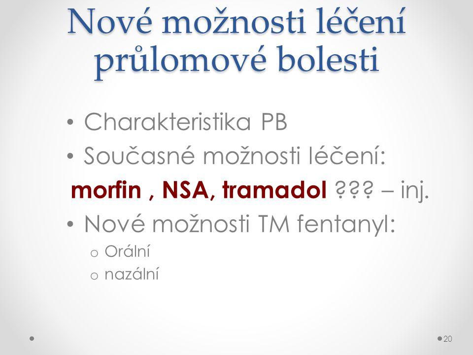 Nové možnosti léčení průlomové bolesti • Charakteristika PB • Současné možnosti léčení: morfin, NSA, tramadol ??? – inj. • Nové možnosti TM fentanyl: