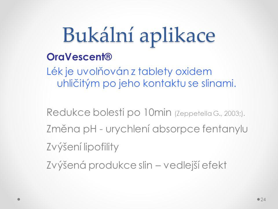 Bukální aplikace OraVescent® Lék je uvolňován z tablety oxidem uhličitým po jeho kontaktu se slinami. Redukce bolesti po 10min (Zeppetella G., 2003;).