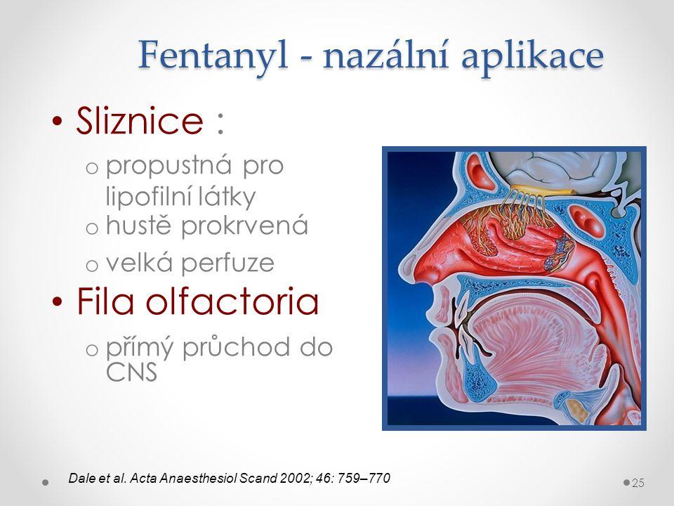 Fentanyl - nazální aplikace • Sliznice : o propustná pro lipofilní látky o hustě prokrvená o velká perfuze • Fila olfactoria o přímý průchod do CNS Da