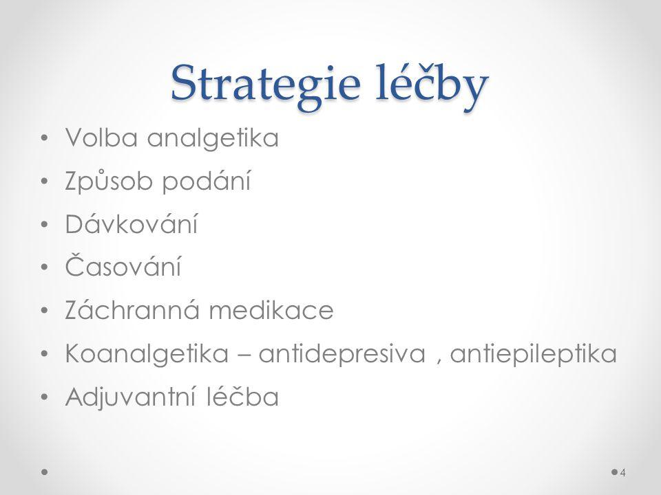 Strategie léčby • Volba analgetika • Způsob podání • Dávkování • Časování • Záchranná medikace • Koanalgetika – antidepresiva, antiepileptika • Adjuva