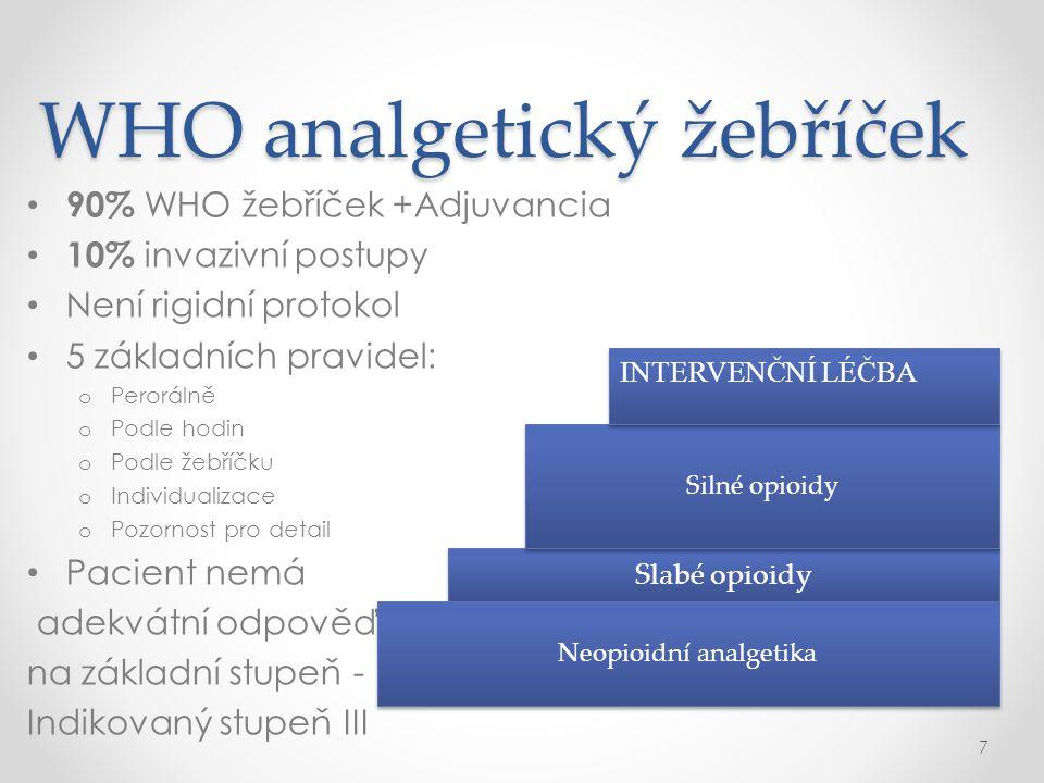 WHO analgetický žebříček • 90% WHO žebříček +Adjuvancia • 10% invazivní postupy • Není rigidní protokol • 5 základních pravidel: o Perorálně o Podle h