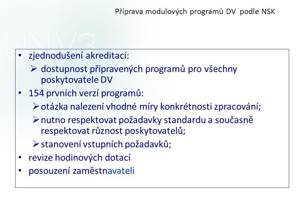 Příprava modulových programů DV podle NSK • zjednodušení akreditací:  dostupnost připravených programů pro všechny poskytovatele DV • 154 prvních ver