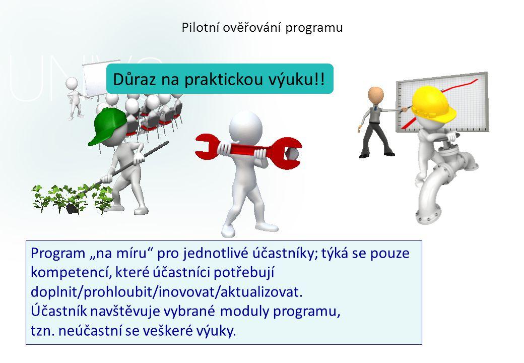 """Pilotní ověřování programu Program """"na míru pro jednotlivé účastníky; týká se pouze kompetencí, které účastníci potřebují doplnit/prohloubit/inovovat/aktualizovat."""