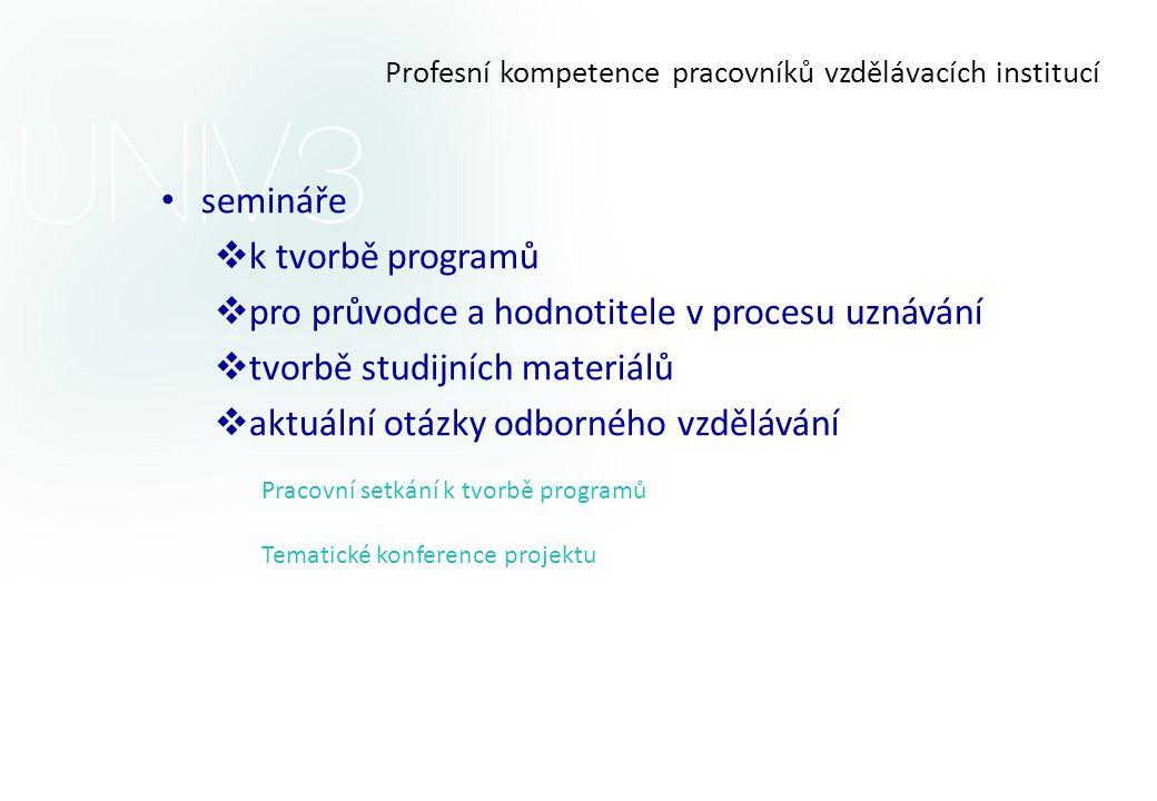 Profesní kompetence pracovníků vzdělávacích institucí • semináře  k tvorbě programů  pro průvodce a hodnotitele v procesu uznávání  tvorbě studijní