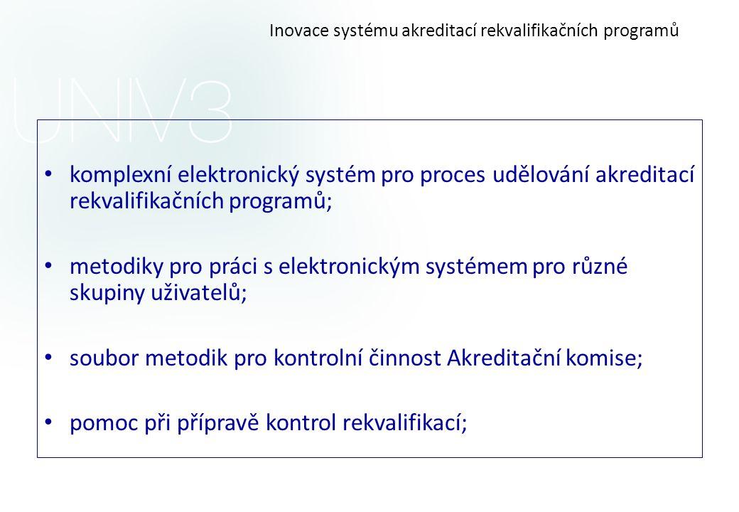 Inovace systému akreditací rekvalifikačních programů • komplexní elektronický systém pro proces udělování akreditací rekvalifikačních programů; • meto
